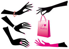 Female hands. With jewels and shopping bag, vector Royalty Free Stock Photography