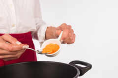 Cooking with curry Stock Images
