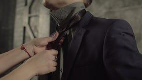 Female hands adjusting black tie of man in suit stock footage
