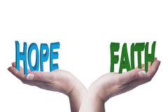 Female hands balancing hope and faith 3D words conceptual image Royalty Free Stock Images