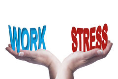 Female Hands Balancing Work And Stress 3D Words Conceptual Image Stock Photography