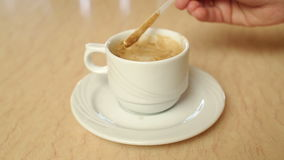 Female hands with a cappuccino cup in a cafe. stock footage