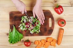 Female hands chopping green salad , cooking vegetables salad on wooden background stock photos