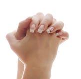 Female hands clasped Stock Photo