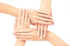 Female hands with classical manicure. Four female hands placed one over another with french nail design on white background Royalty Free Stock Image