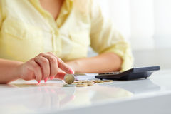 Female hands with coins euros Stock Photo