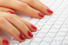 Female hands on computer keyboard - typing Stock Images