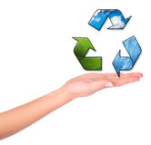 Female hands and conceptual recycling symbol Royalty Free Stock Photo