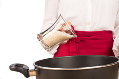 Cooking with rice Stock Image