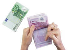 Female hands counting banknotes Stock Images