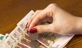 Female hands counting the money Royalty Free Stock Photos