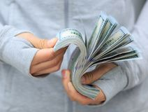 Female hands counting money royalty free stock images
