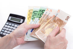 Female hands Counting Money Stock Photography