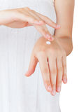 Female hands with cream Stock Image