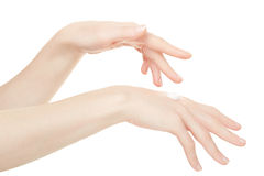 Female hands with cream on white Stock Photography