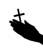 Female hands with crucifix isolated Stock Photography