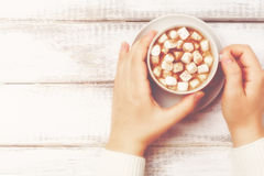 Female hands with cup of hot cocoa with marshmallows, vintage style, retro toned Stock Image