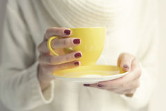 Female hands with cup Royalty Free Stock Photography