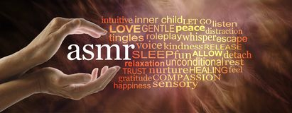 Autonomous sensory meridian response word cloud. Female hands cupped around the acronym ASMR on a warm reddish feathery background with a relevant word cloud vector illustration
