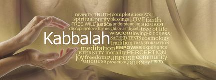 Aspects of Divine Kabbalah Word Tag Cloud. Female hands cupped around the word KABBALAH surrounded by a word cloud against a gold flowing chiffon background royalty free stock images