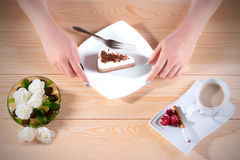 Female hands cut off a cake piece. Royalty Free Stock Image