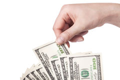 Female hands with dollars isolated on a white Royalty Free Stock Photos