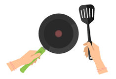 Female hands with empty teflon cooking pan, black slotted spatul Stock Photos