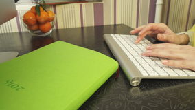Female hands fast typing on the keyboard stock video footage