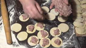 Female hands fill round pieces of dough with meat stuffing stock video footage