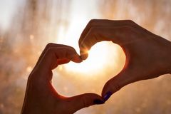 Female hands in the form of heart against sun beams. Female hands in the form of heart against the window pass sun beams. Hands in shape of love heart royalty free stock photography