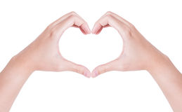 Female hands in the form of heart isolated on white. Background stock image