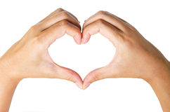 Female hands in the form of  heart. Royalty Free Stock Image
