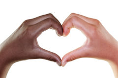 Female hands in the form of heart isolated on white, Multiethnic Stock Photo