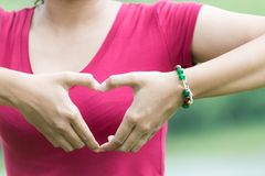 Female hands in the form of heart on nature background Stock Image