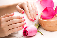 Female hands with rose petals and towel. Spa Stock Images