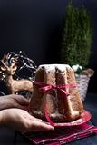 Female hands in frame and Italian Pandoro Christmas Cake with lemon cream. Decor and sweets for Christmas. A bokeh from the royalty free stock photography