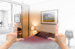 Female hands framing custom bedroom design. Combination drawing and photo Stock Photography