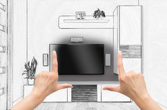 Female hands framing custom room design. Combination drawing and photo Royalty Free Stock Image