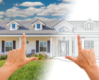 Female Hands Framing House Drawing Gradating Into Photograph. Female Hands Framing House Drawing Gradating Into a Photograph royalty free stock photography