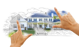 Female Hands Framing House Drawing and Photo on White Stock Photography