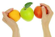 Female hands with fruits Royalty Free Stock Photography