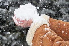 Female hands full of snow, winter season Royalty Free Stock Images