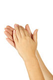 Female hands gesture applauded, close up. Royalty Free Stock Photo