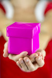 Female hands giving Christmas present Royalty Free Stock Image