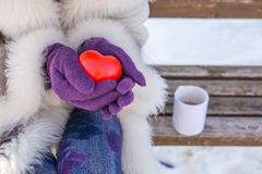 Female hands with gloves holding red heart Stock Photography