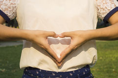 Female hands heart Stock Photos