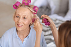Female hands helping to put on hair rollers. Important day. The close up of delicate female hands helping to fix rollers on the hair of a pretty refined senior Stock Photo