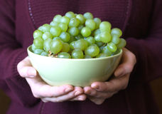 Female hands hold bowl with appetizing green grape Stock Image