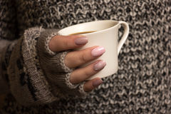 Female hands hold a coffee cup Royalty Free Stock Images