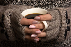 Female hands hold a coffee cup Royalty Free Stock Photography